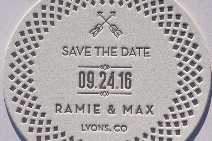 Save the Date Letterpress Die Cut Coasters