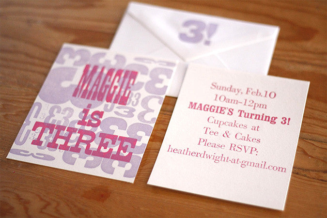 Custom Letterpress Birthday Invitations with Hand-Set Type