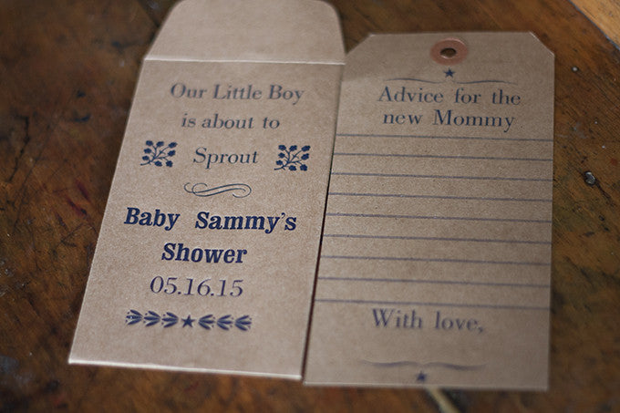 Hand-set Letterpress Baby Shower Favors