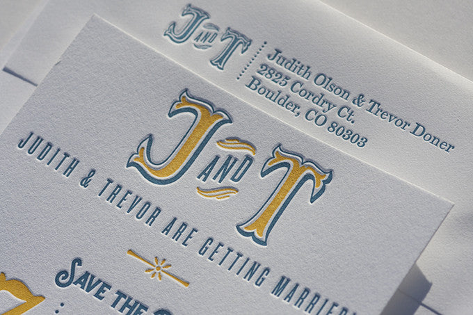 Letterpress Wedding Save the Dates