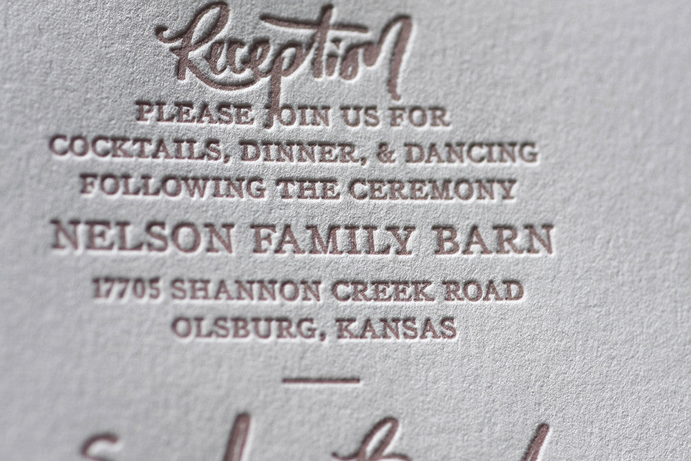 Letterpress Wedding Details Card