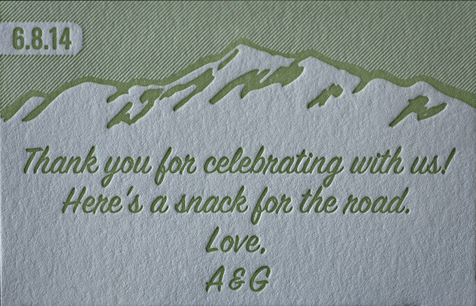 Letterpress Printed Wedding Favors