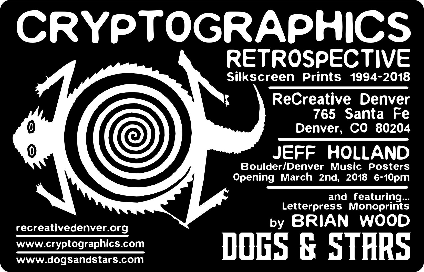 letterpress art show dogs and stars cryptographics denver recreative march 2
