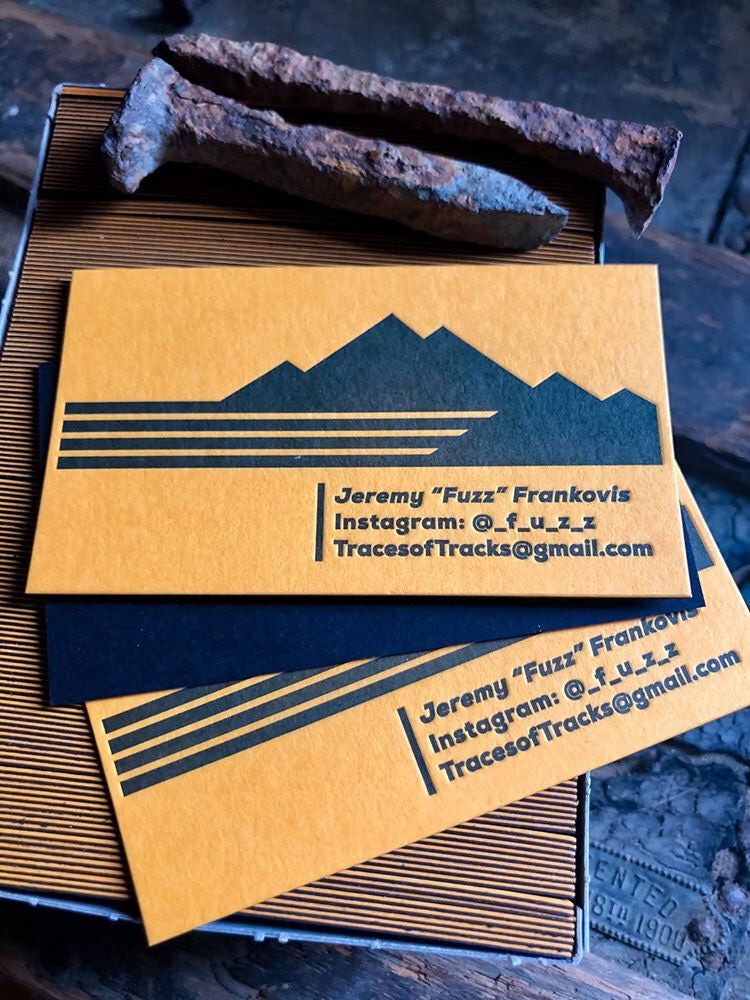 letterpress business cards photo trail colorado letter press boulder railroad custom printing photog photographer