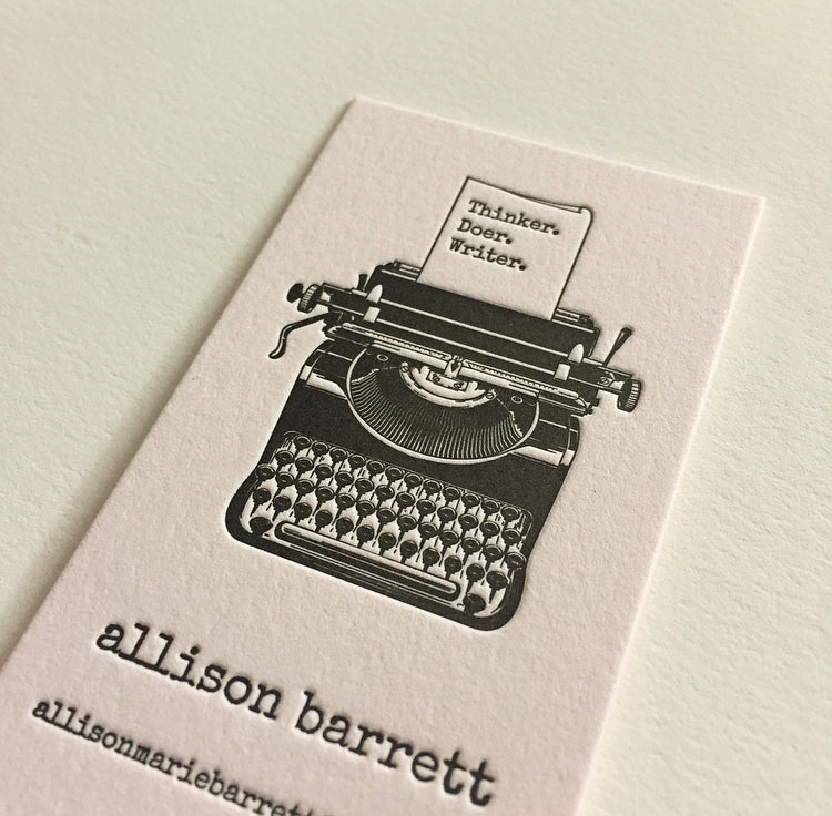 letterpress printed calling business cards simple clean elegant designs writer dogs and stars template designs typewriter