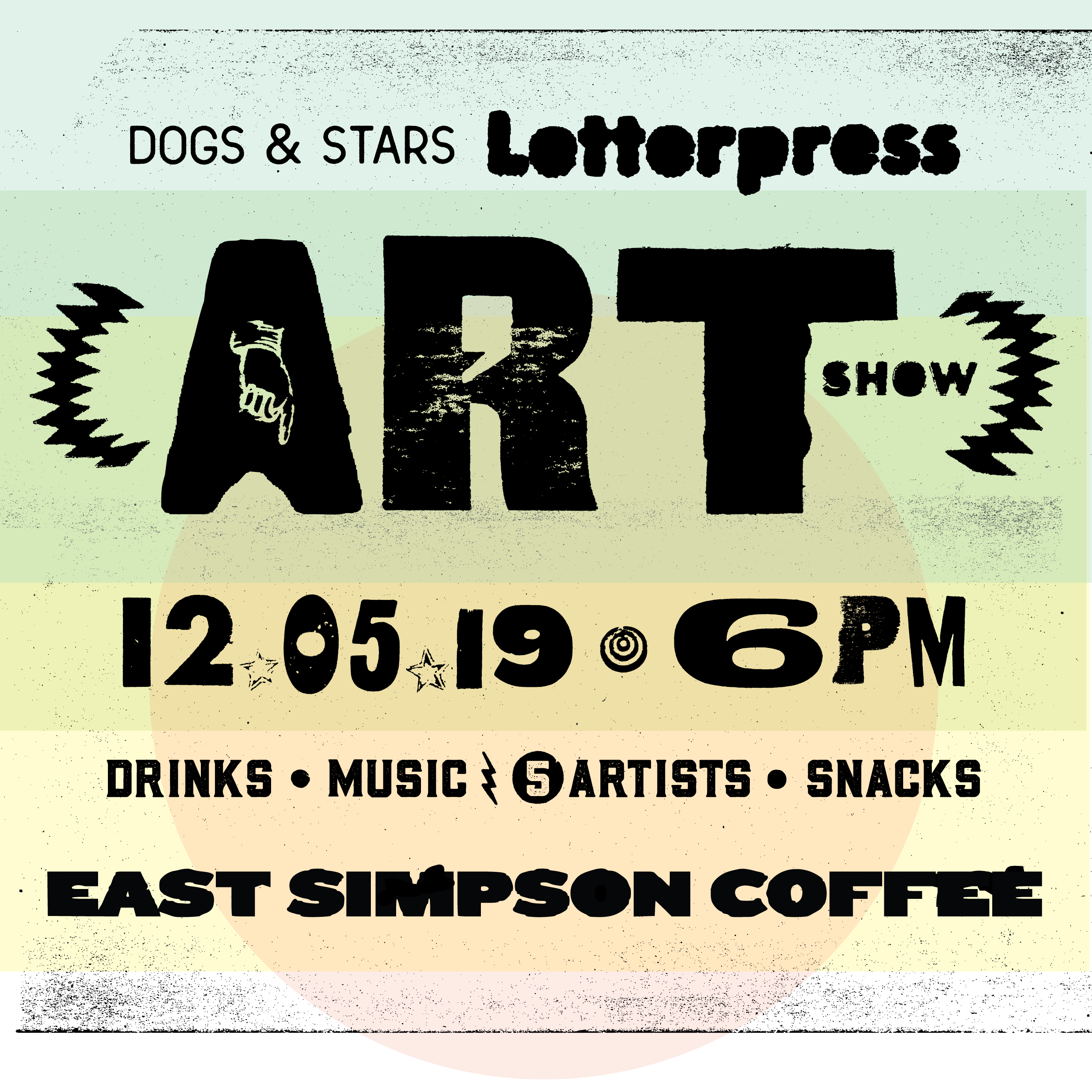 letterpress art show print isn't dead east simpson coffee company dogs and stars calling cards business cards