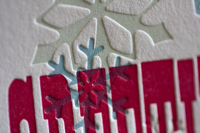 letterpress wood type card season's greetings