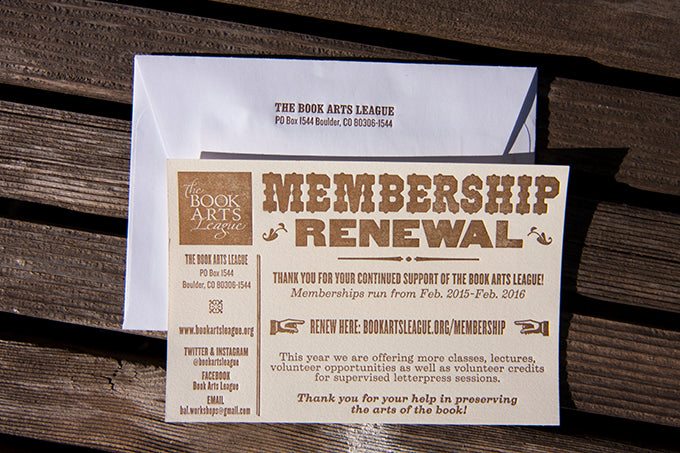 Book Arts League Letterpress Printed Membership Cards Printed By Dogs and Stars Letterpress Colorado