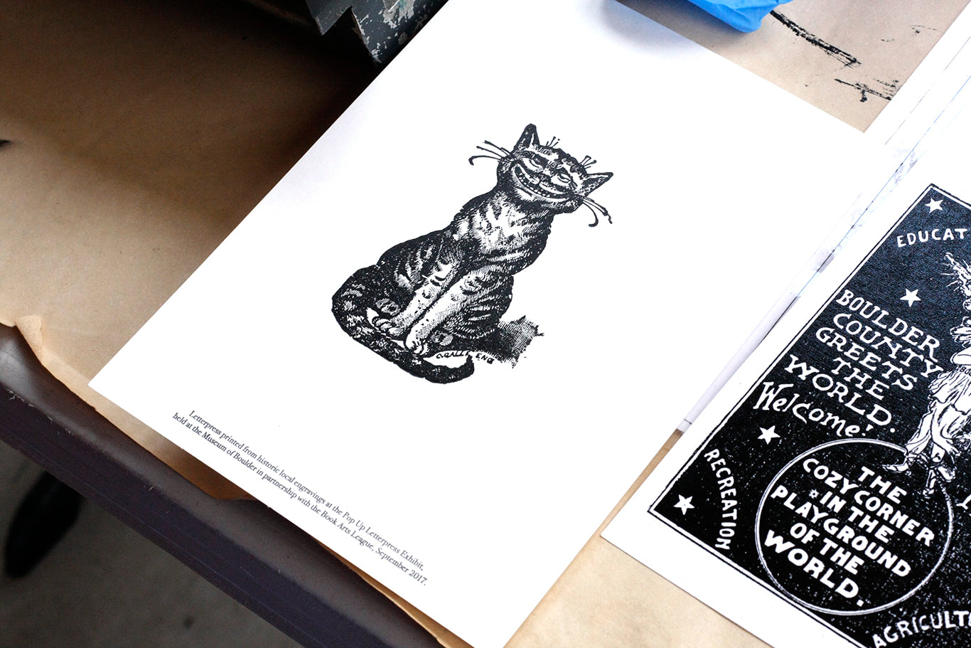Letterpress Cat Dogs and Stars Colorado