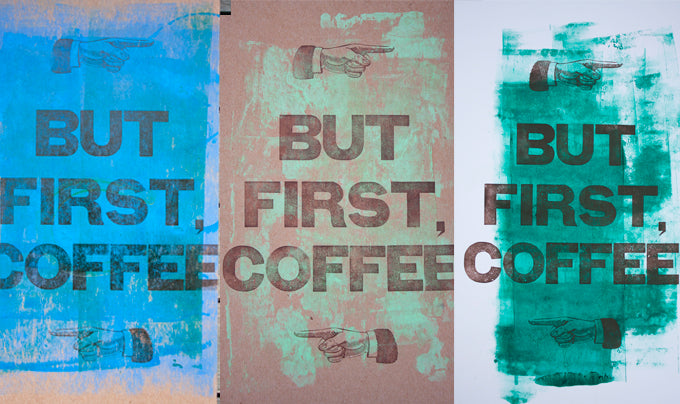Letterpress printed coffee print using wood type