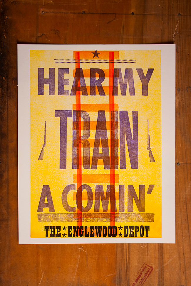 Letterpress Broadside Englewood Depot Wood Type Jimi Hendrix Colorado Boulder Denver Lafayette