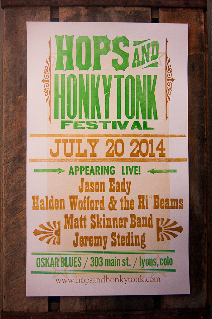 Hops & Honky Tonk Letterpress Printed Poster using wood and metal type