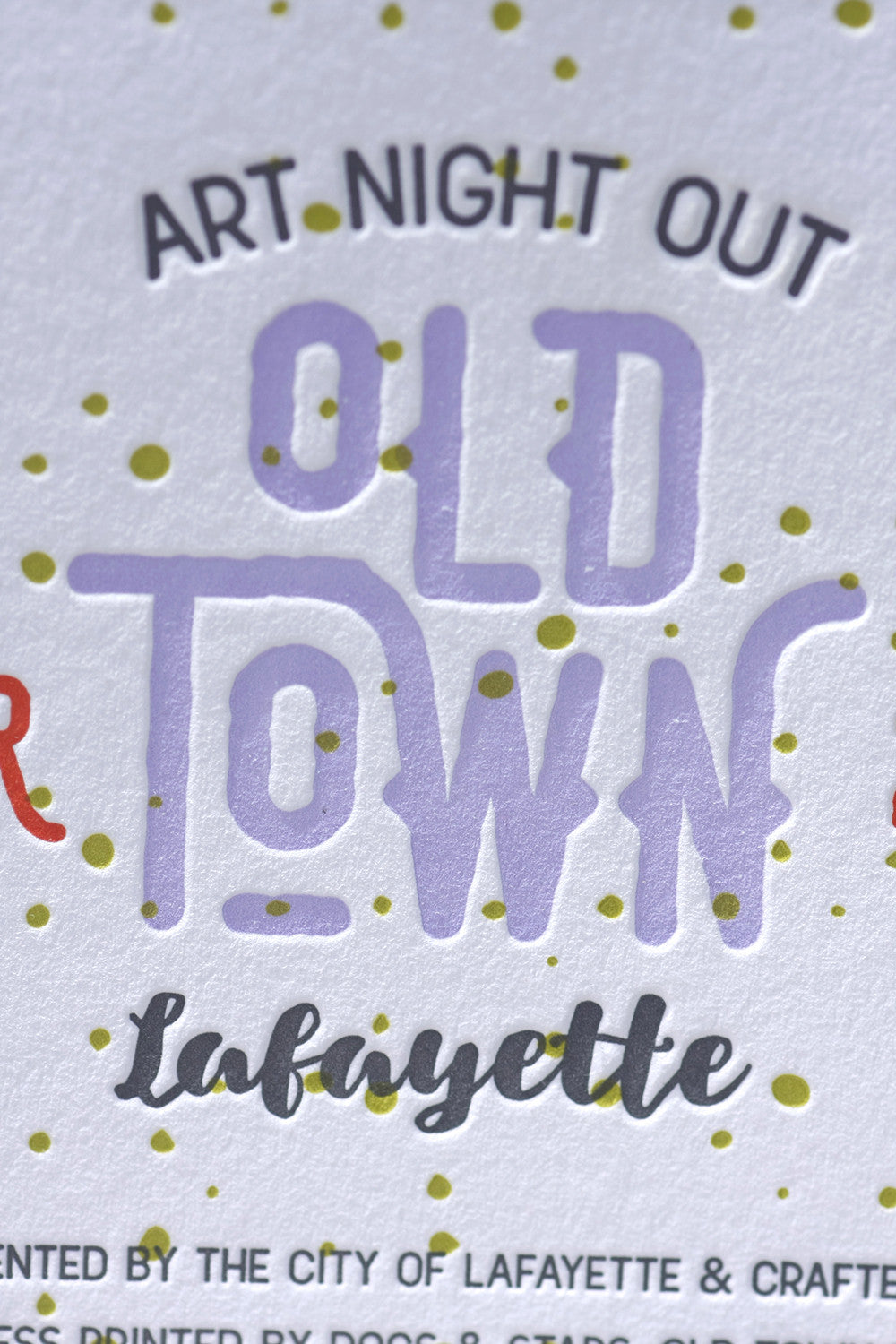 Art Night Out Letterpress Poster Custom Printing Old Town Lafayette