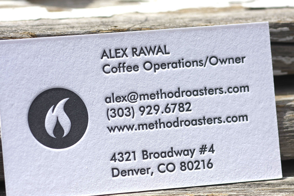 Letterpress Coffee Cards Business Cards Custom Printing Boulder Denver Colorado