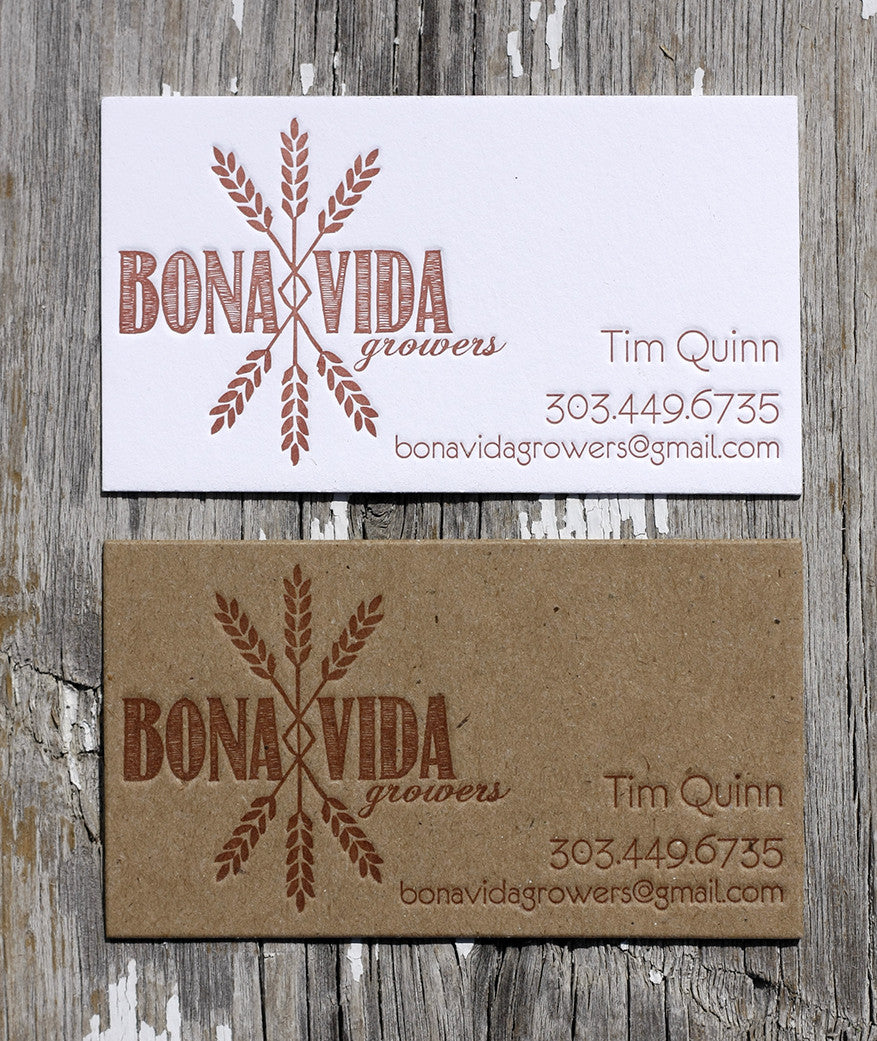 Letterpress for a local farm longmont business cards