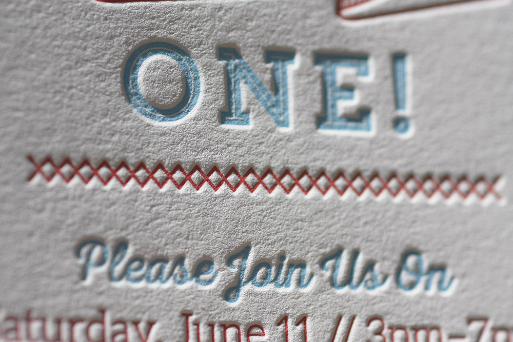 Letterpress first 1st birthday invitation custom printing and design boulder colorado denver