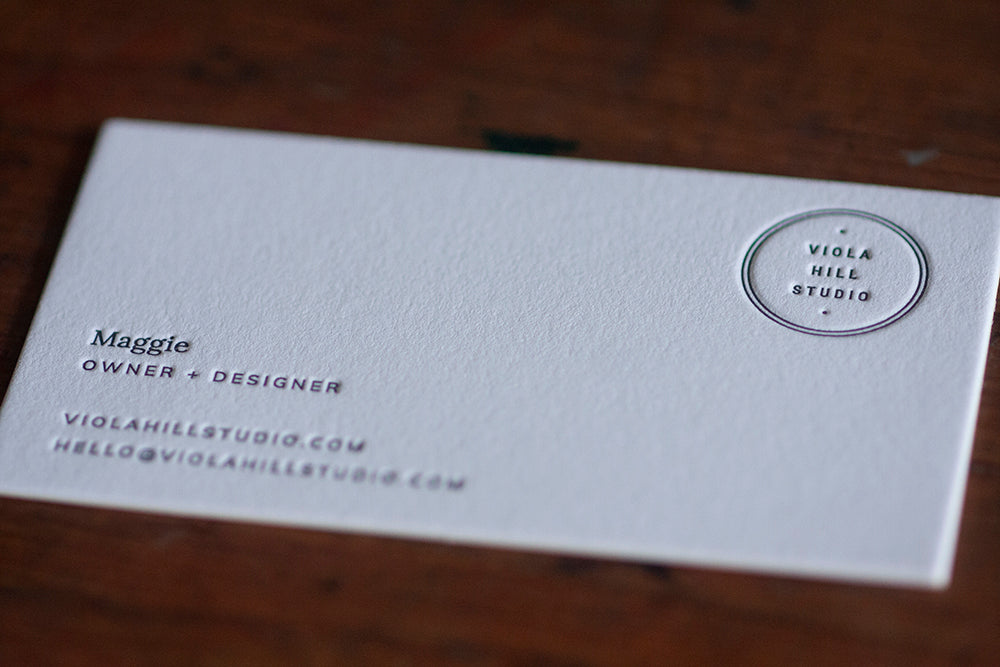 Letterpress business cards viola hill studio wisconsin custom printing dogs and stars letterpress