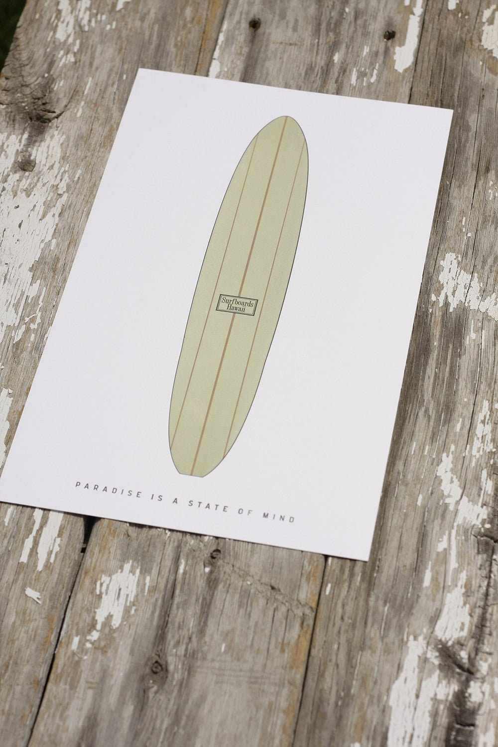 Letterpress Surfboard Printed by Dogs & Stars Boulder Denver Colorado