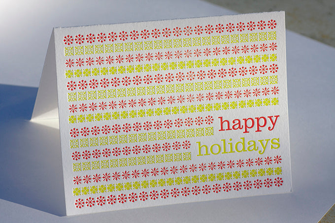 Letterpress printed hand made hand crafted holiday card boulder, denver, lafayette colorado