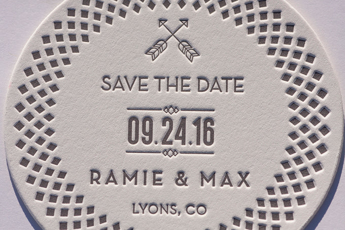 letterpress wedding invitations save the dates save the date bespoke crane lettra 220 die cut coasters