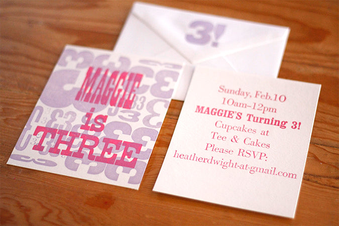 Custom letterpress birthday invitations with hand set type dogs letterpres printing using antique type filmwisefo Images