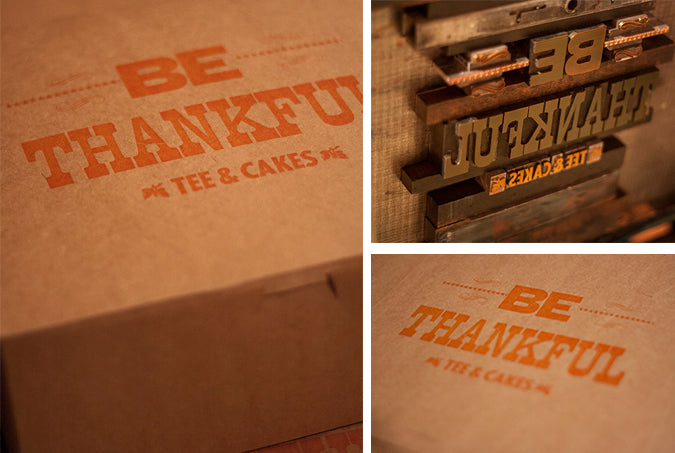 Letterpress bakery box Boulder Colorado Wood type