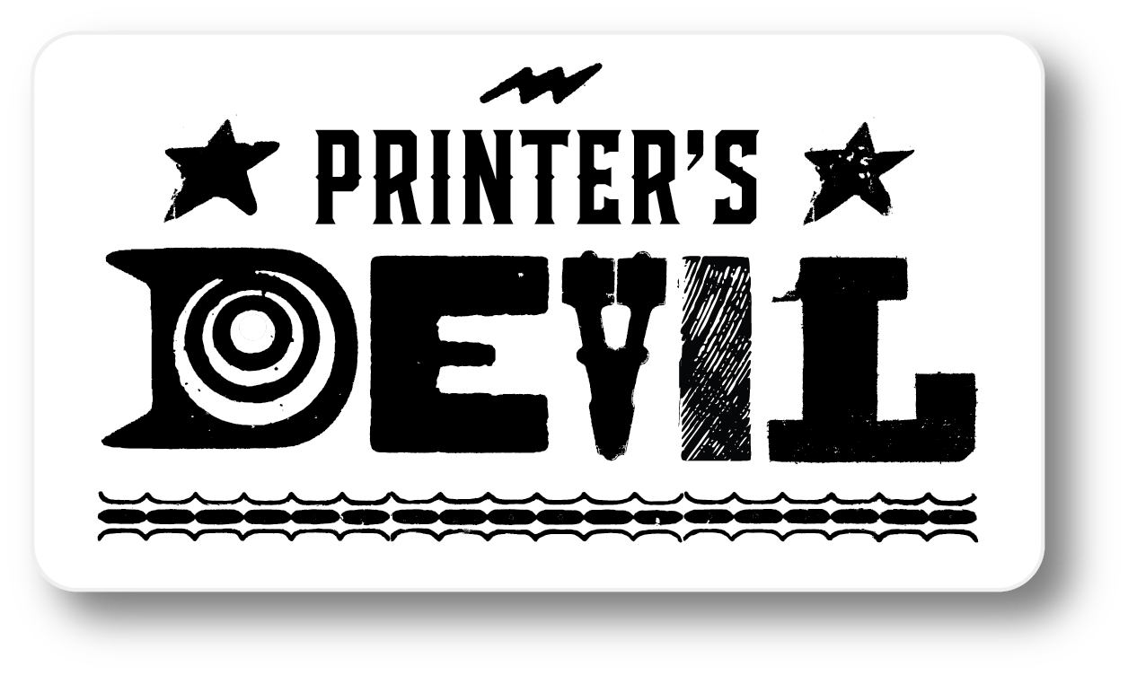 Printer's Devil letterpress sticker boulder denver printing paper