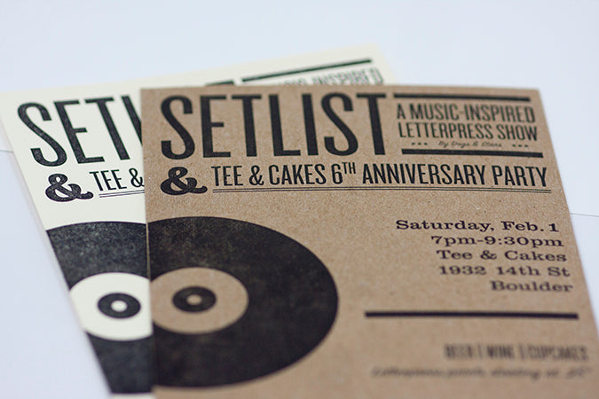 letterpress invitations music rock and roll record vinyl letterpress Boulder Denver Colorado