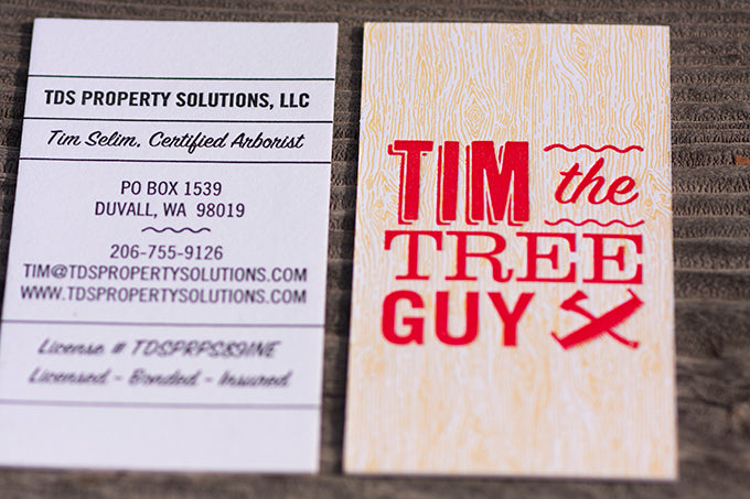 letterpress business cards for arborist seatlle washington custom printing and design letterpress colorado