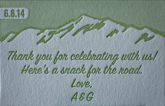 Letterpress printed wedding favors boulder colorado