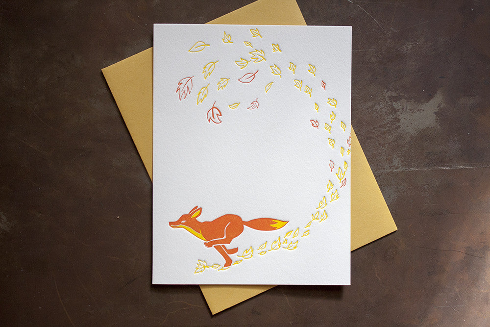letterpress fox card letterpress printing Lafayette Denver Boulder Colorado greeting cards