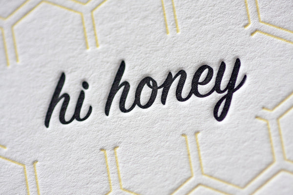 letterpress greeting cards bee honey hexagon honeycomb hand made hand printed