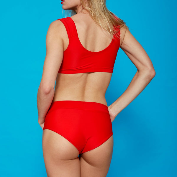 Bikini Rojo Braguita Talle Alto Barcelona tallas grandes Red High Waisted Bikini set by Miahmo swimwear