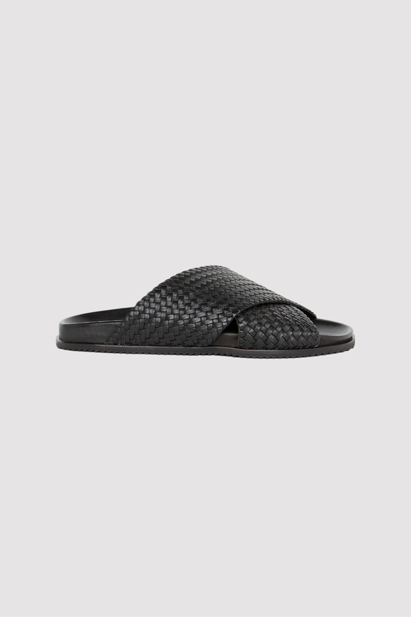 Arne Woven Crossover Sandals - Black