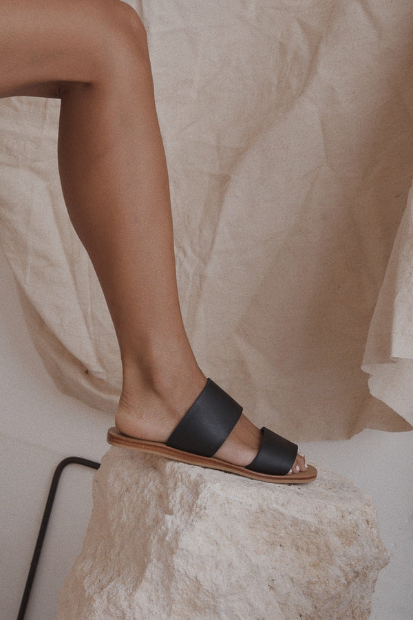 Rio Double Strap Slide - Black
