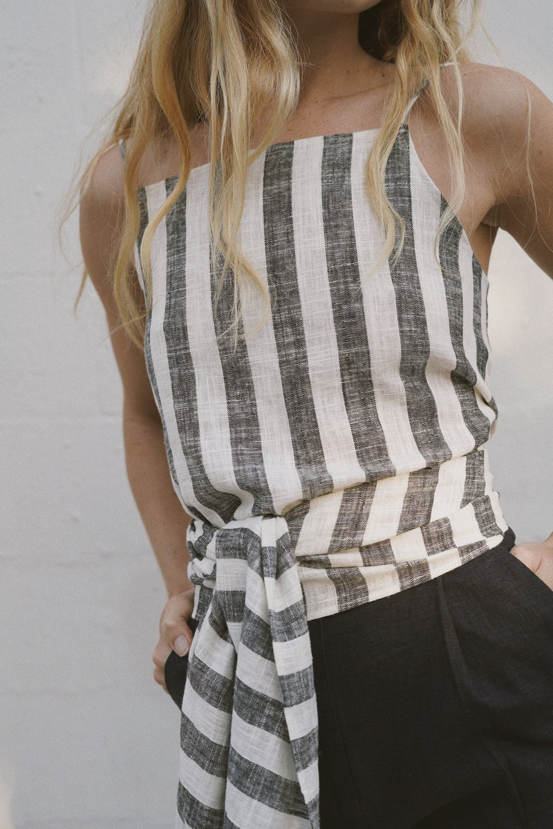 Iva Wrap Top - Black & White