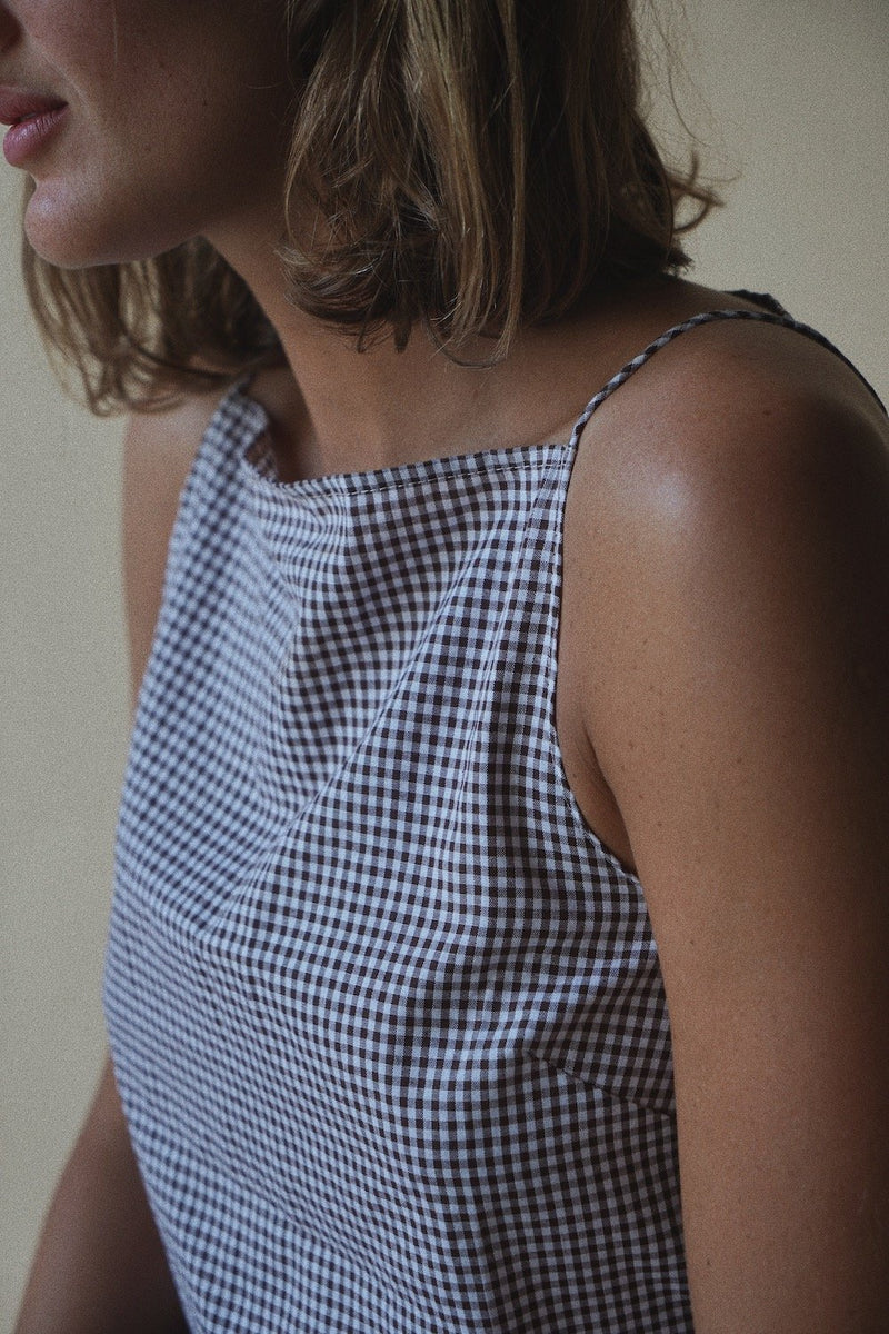 Elle Square Neck Singlet - Brown Gingham