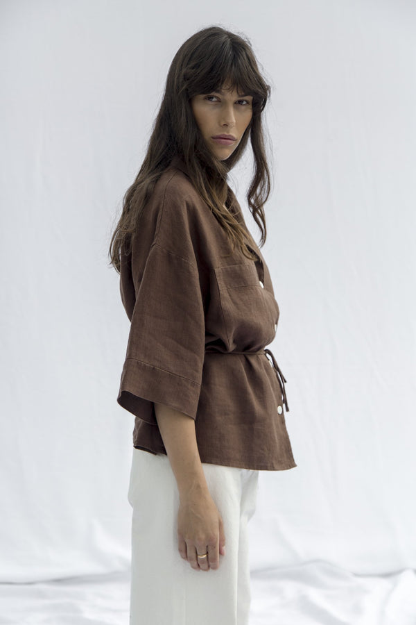 Linen Safari Shirt - Cocoa