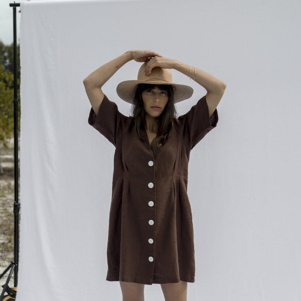 Minni Button Dress - Cocoa