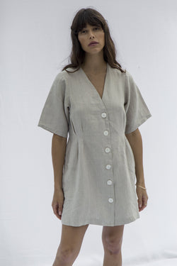 Minni Button Dress - Natural