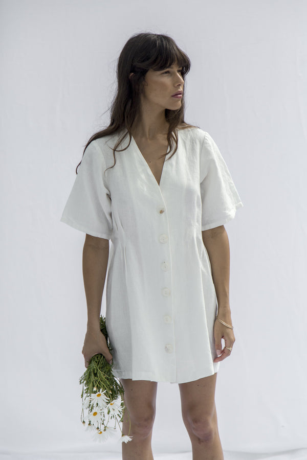 Minni Button Dress - Vintage White