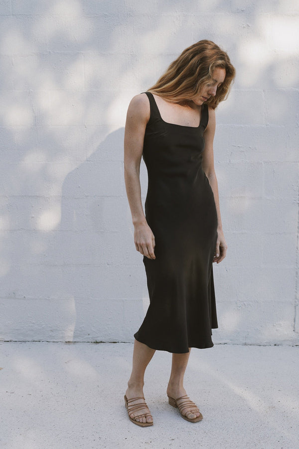 Selma Silk Slip Dress - Black