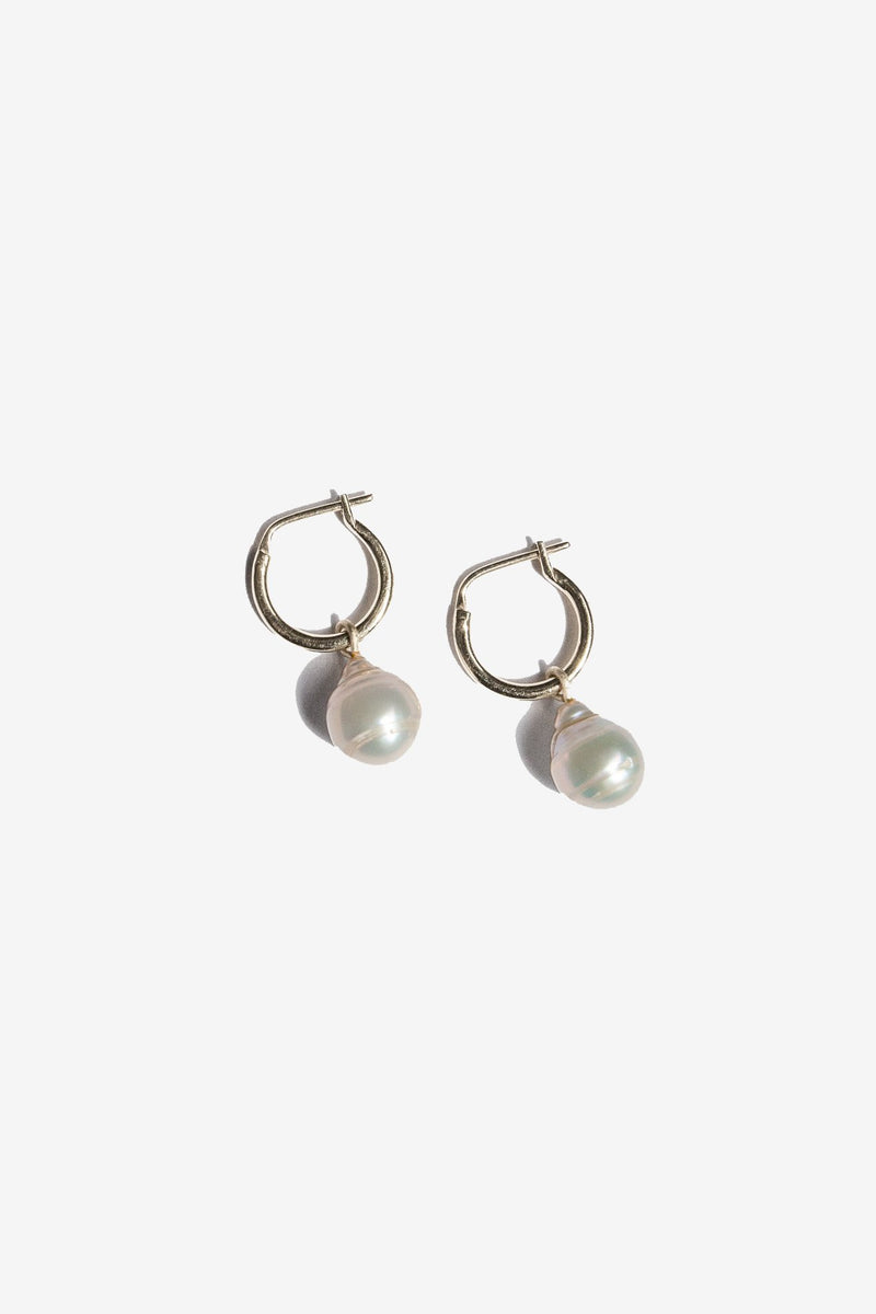 Eva Pearl Sleeper Hoops - Silver - By Flash Jewellery