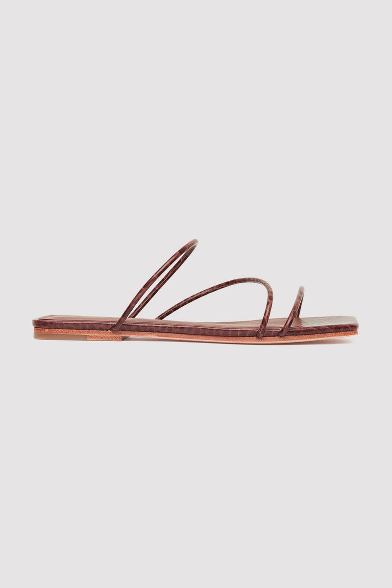 Jackie Croc Flats - Antique Tan