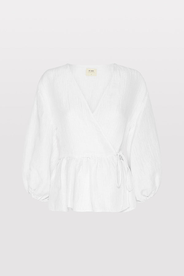 Joji Wrap Blouse - Rice White