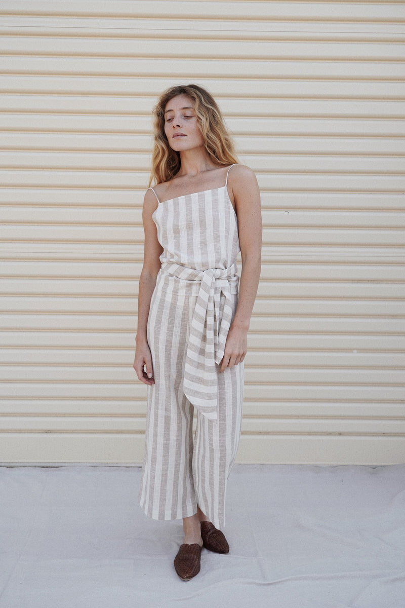 Iva Wrap Top - Taupe Stripe