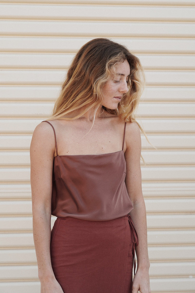 Belle Silk Top - Red Earth
