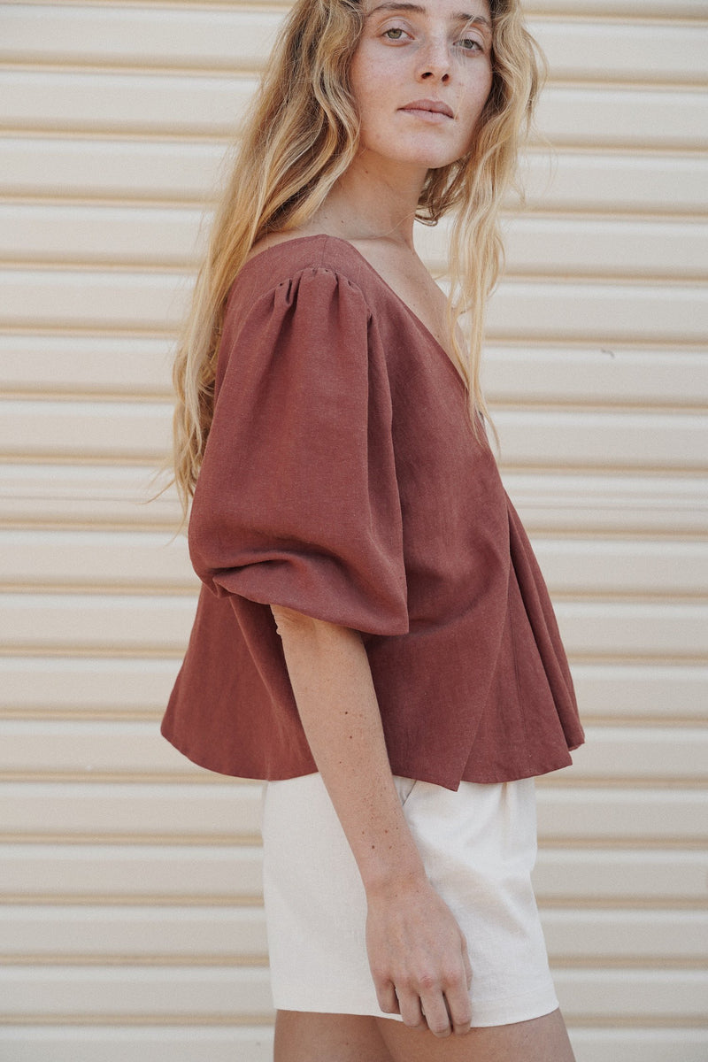 Sunday Blouse - Red Earth
