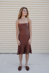 Belle Silk Dress - Red Earth