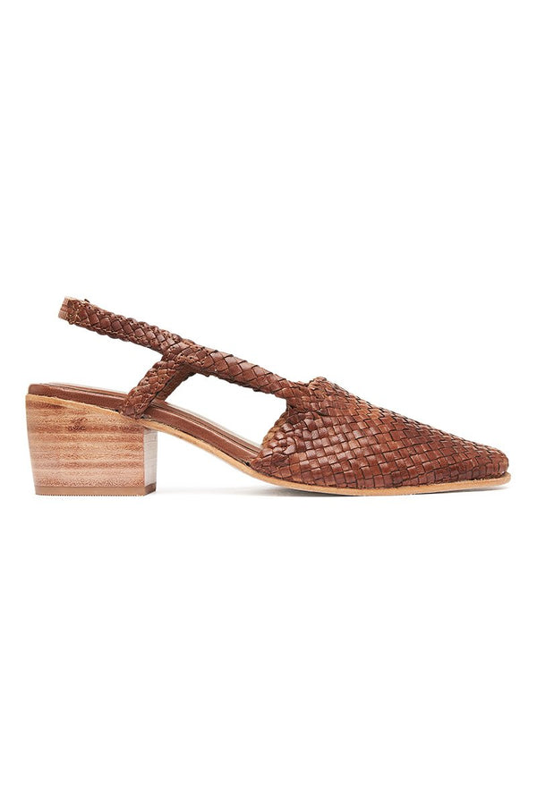 Vivi Woven Sling-back - Antique Tan